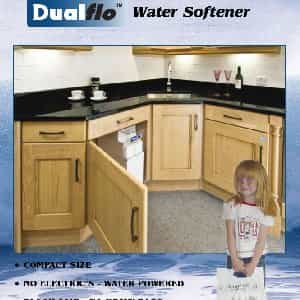 Harveys Dualfo water softener in kitchen cabinet-min